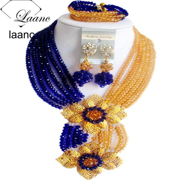 Laanc Fashion Royal Blue Champange Gold Nigerian Wedding African Beads Jewelry Set Crystal C6CHLK024