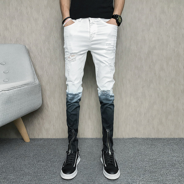 2018 Fashion Youth Men Breaking Holes Jeans Summer Fashion Zipper Decoration Slim Men's Trousers Size 28 29 30 31 32 33 34