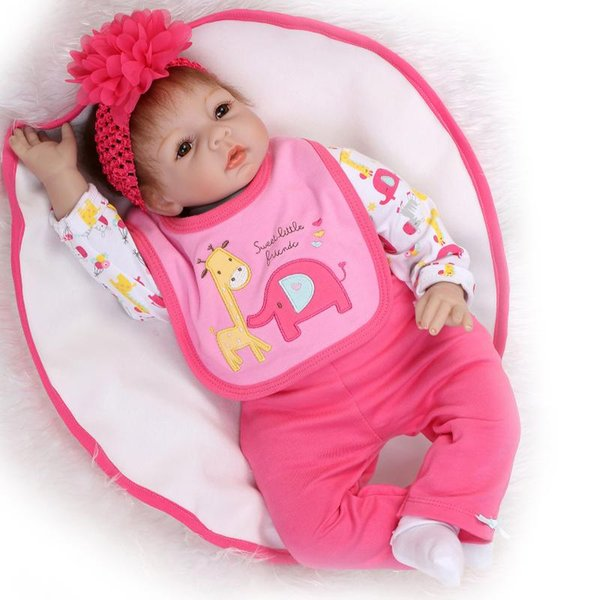 """Wholesale- New Lovely Lifelike Baby Doll 22"""" 55cm Reborn Soft Baby Doll for Kids Sleeping Toy"""