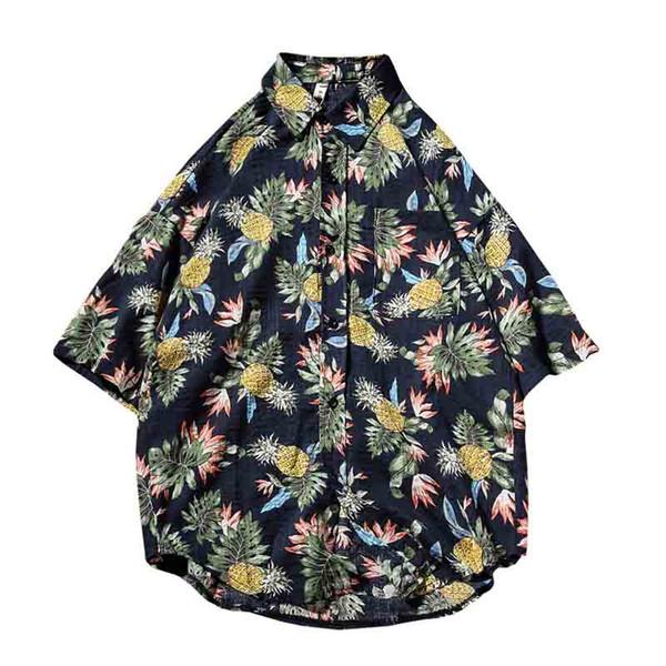 2018 Sommer Neue Hawaiihemd Baumwolle Kurzarm Männer Shirts Lose Ananas Druck Mode Halben Hülse Kragen Shirts 5xl