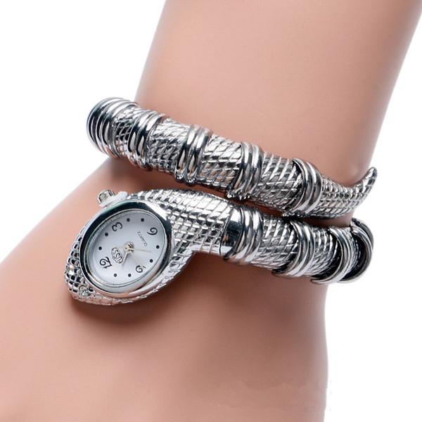 Cussi 2018 New Luxury Serpentine braccialetto delle donne Orologi d'argento al quarzo da polso Ladies Dress Orologi Snake Clock