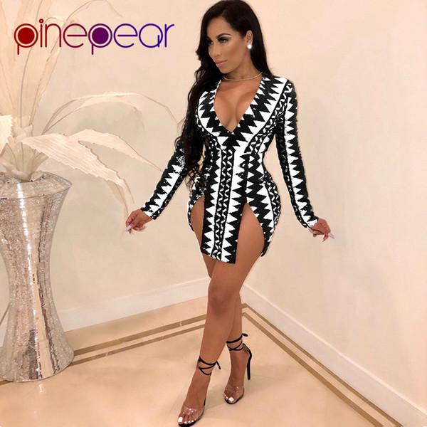 PinePear Geometric Print Dress 2019 Nuovo Autunno Inverno Donna manica lunga profonda scollo a V ad alta Split Mini abiti sexy Trasporto di goccia