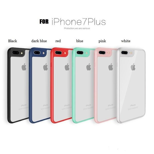 2018 acrylic PC high clear transparent cell phone case cover for iphone X 10 6s 7 8 plus with soft colorful frame bumper slim shockproof