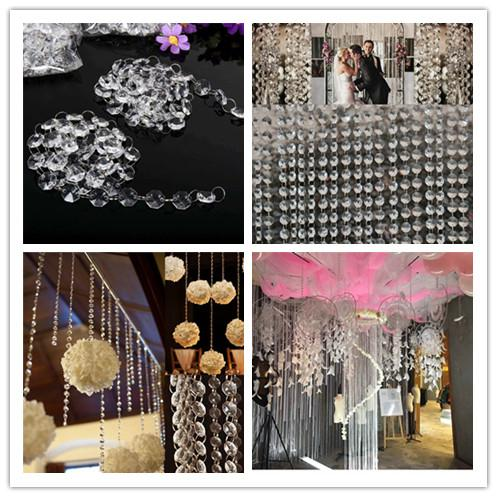 DHL free shipping 14mm Crystal Clear Acrylic Hanging Beads Chain silvery ring Garland Curtain Chandelier party wedding XMAS Tree decoration