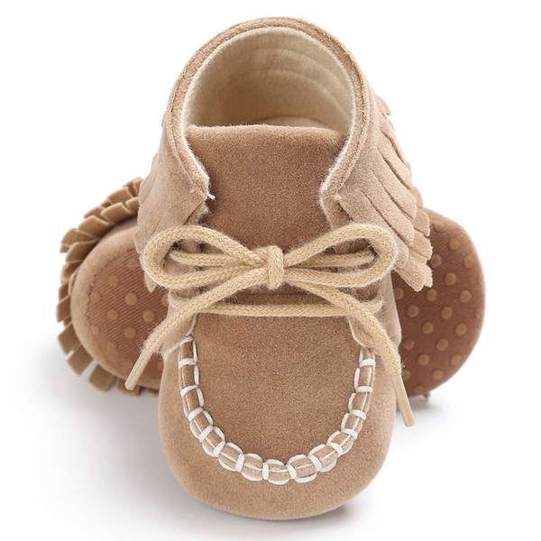 Baby Moccasins Soft Sole Lace-up Fringe Baby First Walkers Newborn Infant Girl Crib Shoes Fashion Non-slip Toddler Girl Boots