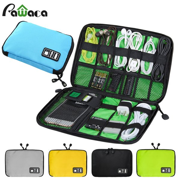 Portable Travel Zipper Usb Cable Storage Bag Organizer Nylon Phone Charger Case For Electronic Accessories Power Bank Hard Disk