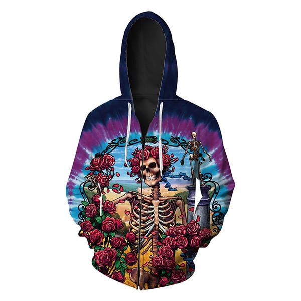 Hommes Zipper Hoodie Rose Skull 3D complet imprimé homme Zip Sweat à capuche Unisexe Casual Hoodies Manches longues Sweats Tops numériques (RL334)