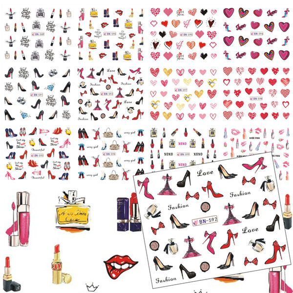 12 Designs Women Nail Art Colorful Water Transfer Decals High Heel/Red Lips/Love Heart/Lipstick Pattern Nail Sticker TRBN589-600