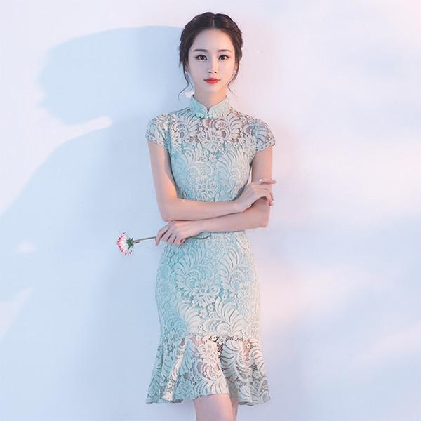 Satin-cheongsam Qipao-Abendkleid cheongsam Qipao der Sommer-schwarzen roten chinesischen Frauen 2018