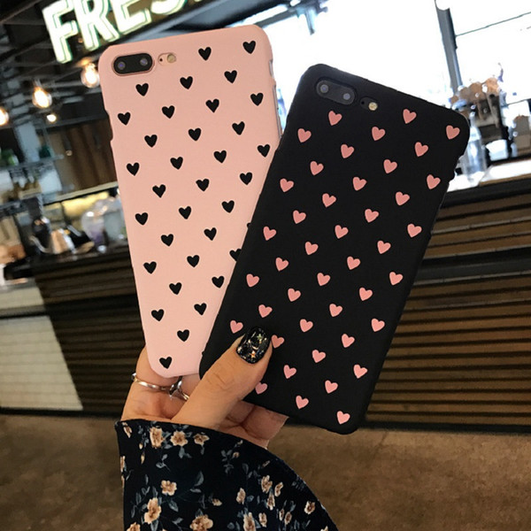 Ultra Thin Lovely Love Funda para PC Hard Hard Frosted Drop Defender Cove para iPhone X Xr Xs Max 8 7 6 6S Plus