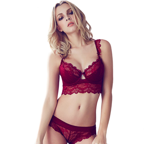 Sexy Mousse Women Sexy Bra Set Ultra-thin Red Lace Bra Brief Sets Plus size Brassiere Push up and Panties Set Winter