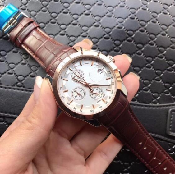 GOOD leather belt quartz men watch date Chronograph cheap High quality wholesale luxury fashion brand new Stainless steel mens watches