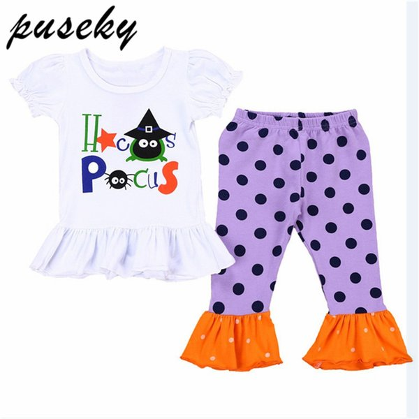 Halloween Kids girls clothes sets Girls t-shirts collocation Ruffle Polka Dot Frilled Leggings Girl Pants baby Outfits Boutique