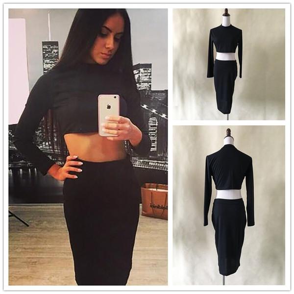 Платье из двух частей цвет черный Размер S-L шею в талии выявление сексуальная юбка с длинным рукавом
