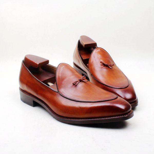 men dress shoes loafers shoe custom handmade shoe bow knot square toe slip-on breathable genuine calf leather lf-09