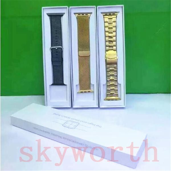 Paquete de caja de venta al por menor de papel para Fitbit Charge Apple Watch 4 3 2 40mm 44mm Banda de metal Pulsera Correa de reloj de cuero de acero inoxidable