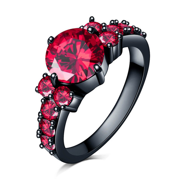 Luxuxschmucksachegroßverkauf Art und Weise New York Bezaubernde Ringe für Frauen-Hochzeits-Band-Weinlese-Schwarz-Gold füllten weißen AAA-roten Rubin Zircon-Ring