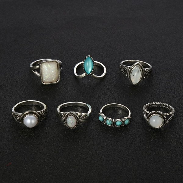 7PCs/Set Handmade Women Boho Party Jewelry Accessories Vintage Finger Rings Set Best Gifts Ethnic Stack Plain Midi Knuckle Rings