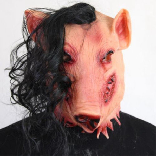 Adult Scary Animal Masks Pig Head with Black Hair Silicon Masks Halloween Party for Full Head Cosplay Costume Tools