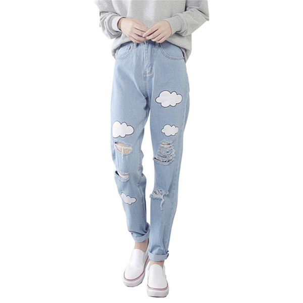 2018 New Women Jeans Cloud Print Ripped Jeans Cotton Slim Vintage High Waist Denim Jeans Boyfriend Cuffs for Women Harem Pants