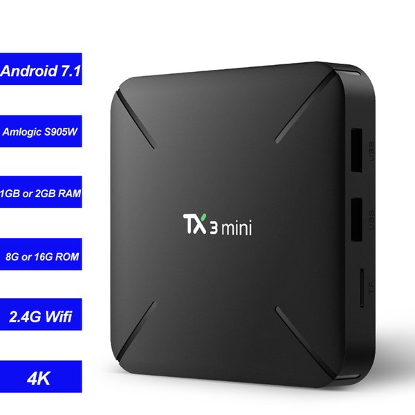 TX3 Mini Smart TV Box Android 7.1 потоковый медиа-плеер Amlogic S905W Quad Core 2 ГБ 16 ГБ 1 г / 8 г Wifi Mini PC 4K Miracas