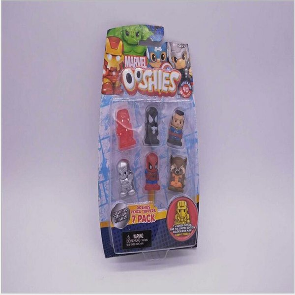 New In Package Ooshies Ooshie Pencil Toppers DC Comics/Marvel Action Figure Collectible Kids Toy Doll Xmas Gift - 6Pcs+ 1 Blind Figure