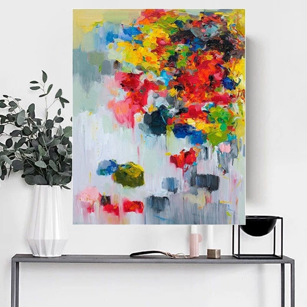Handmade Red Knife Flower Painting Abstract Paintings on Canvas New Style Still Life Painting Picture Decor Oil Painting