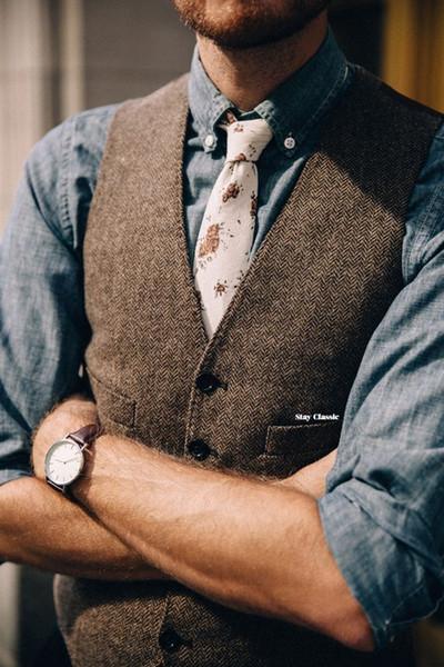 2018 Vintage Brown tweed Vests Wool Donegal custom made Mens suit tailor slim fit Blazer wedding suits for men plus size