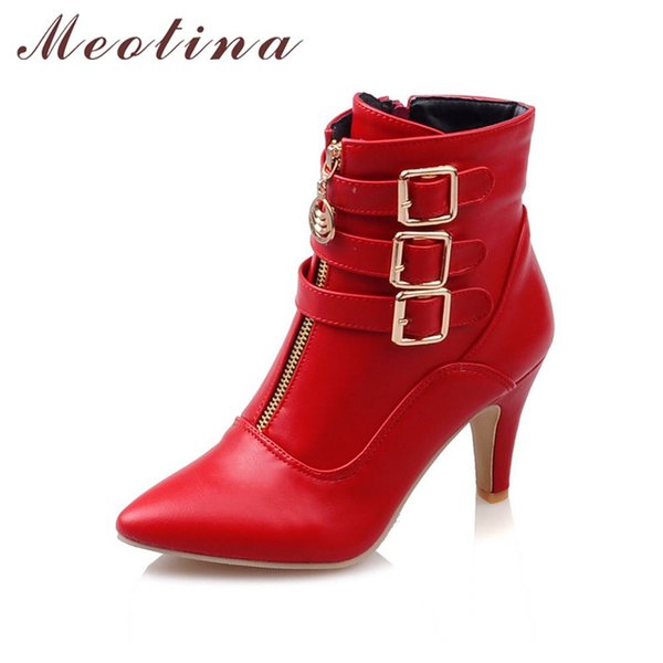 Shoes Women Boots Spring High Heels Ankle Boots Pointed Toe Buckle Martin Boots Zip Ladies Shoes White Big Size 44 45 11