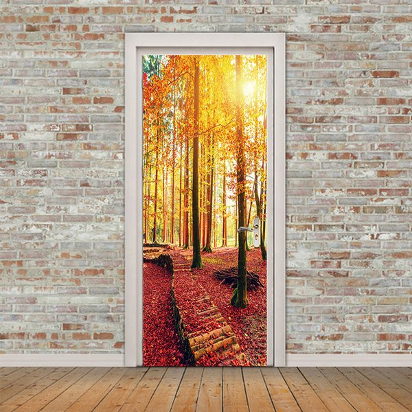 Creative 3D View Maple Forest Path Door Stickers DIY Mural Wallpaper Waterproof Self adhesive Door Decor Living Room Bedroom Home Decoration