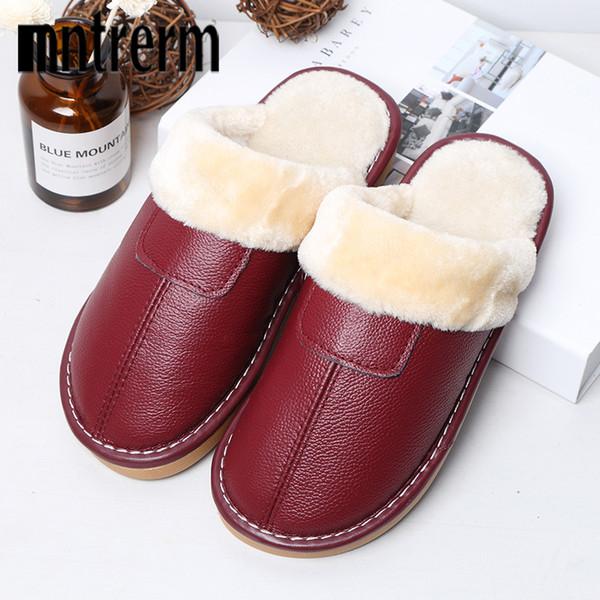 vente en gros 2018 nouveautés femmes pantoufles hiver peluche chaude maison pantoufles intérieur en plein air chaussures en cuir véritable femmes amants chaussure