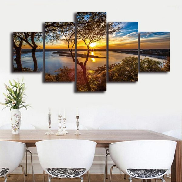 Wall Art 5 Panel Blue Sky Trees Lake Scenery Painting Modular Sunset Pictures Framed HD Printed Canvas Home Decor Living Room