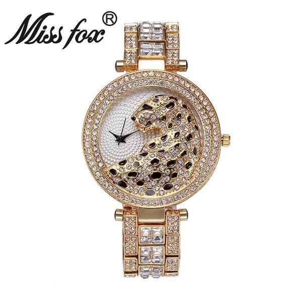 Miss Fox Brand leopardo de lujo reloj moda mujer reloj de oro encantos diamantes completos oro cuarzo relojes de pulsera bs