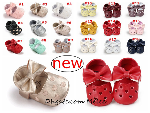 best selling INS 19colors choose Baby Moccasins Love Heart Bow Infant Prewalker PU Leather Children hollow out Shoes for Boys Girls Soft Anti-slip Sole