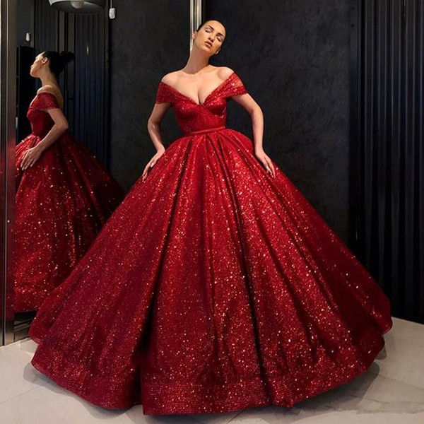 Red Sequined Prom Dresses Deep v Neck Cap Sleeves Ball Gown Evening Dress Puffy Floor Length Women Formal Wear Party Dress Custom Made