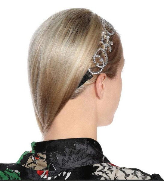 2019 European and American foreign trade jewelry big letter flash diamond satin headband hair accessories personality exaggerated headdress