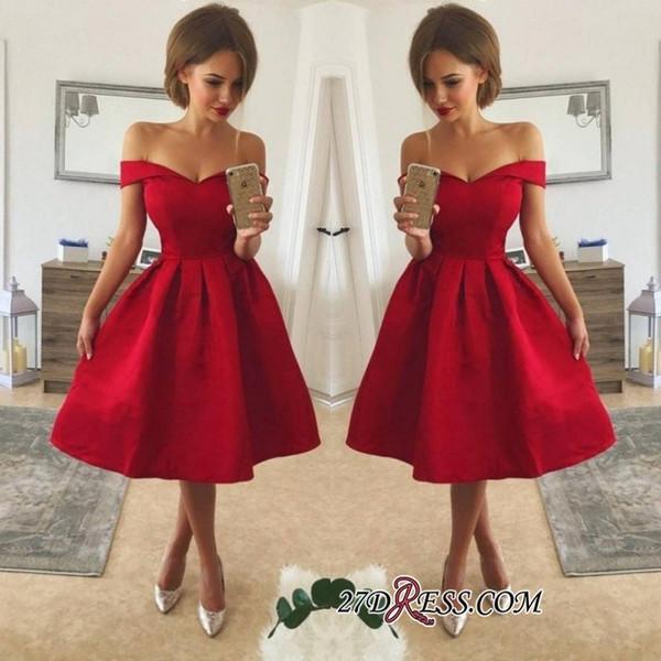 Basit Stil Ucuz Kırmızı Kokteyl Elbiseleri Kapalı Omuz Dantelli Saten Diz Boyu Bir Çizgi Balo Parti Törenlerinde