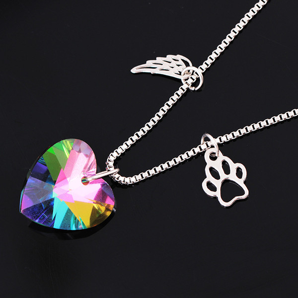 Heart Crystal Necklace Colorful Glass Pendants Necklaces Rainbow Color Paw Pendant For Lover Wings Hollow Dog Claw Pendant Necklace