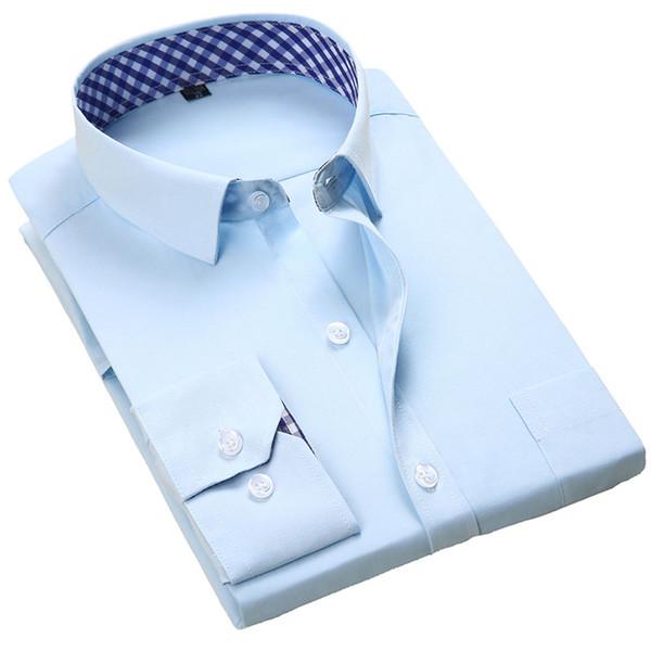 Non-Iron Plaid Collar Cuff Formal Solid Shirts Mens Clothes 2018 Long Sleeve Mens Dress Shirts Casual Slim fit Men Social Shirt