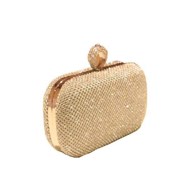 Super Luxury Handmade Popular Women Handbag Full Diamond Finger Ring Evening Bags Clutch Purse/Bling Bag 3 Color