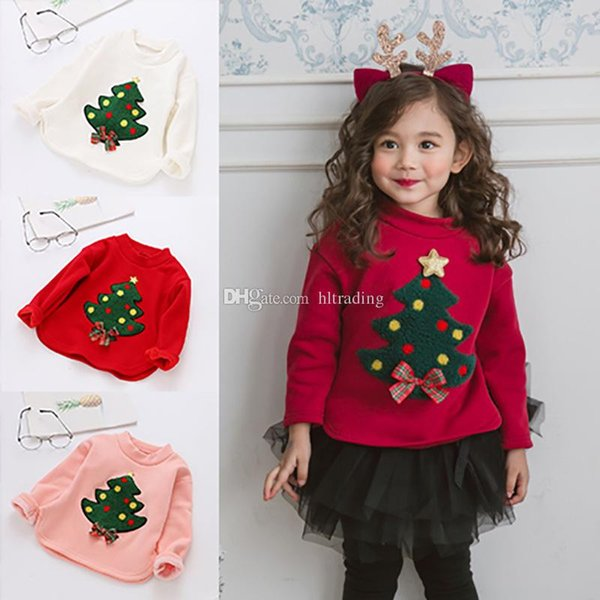 Kids Christmas tree Sweatshirt Cotton children Girls Tops Long sleeve Xmas T shirts Spring Autumn Tees Kids Clothing 3 colors Sweaters C5475
