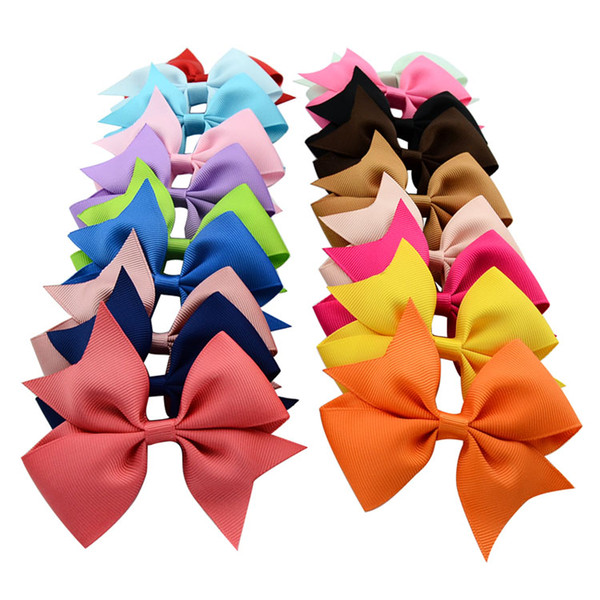 40pcs Lot Hot Sell Summer Style Grosgrain Ribbon Hair Bows Girl Boutique Bow Hairbows With Clip Kids Hair Accessories Headwear