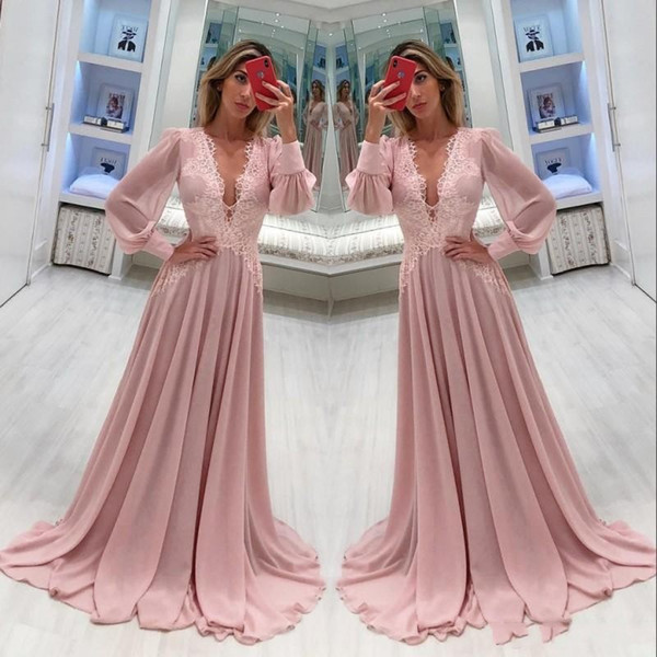 2018 Elegant Chiffon Mother Of The Bride Dresses Deep V Neck Long Sleeves Lace Applique Floor Length For Weddings Party Evening Prom Gowns