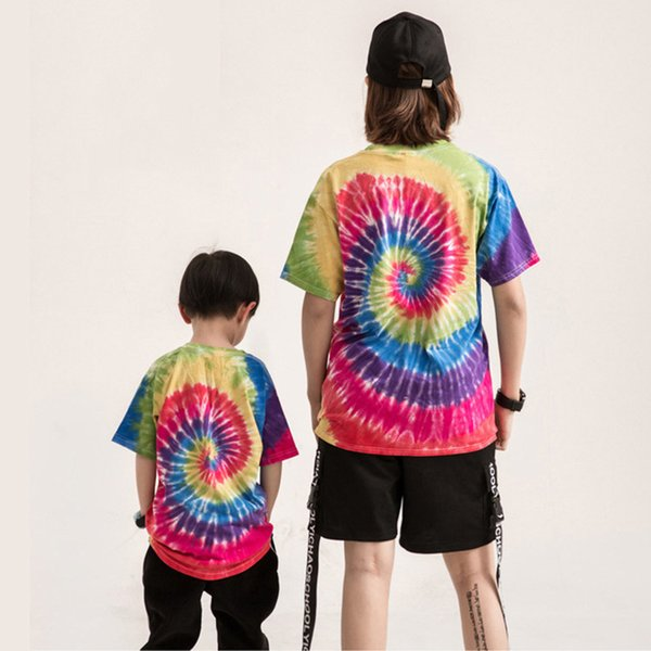 Harajuku Men Cotton Short sleeve T-shirt 2018 Summer Tie dye Rainbow Spiral Vortex Printed Casual Unisex loose T Shirt Tops Vest Tees