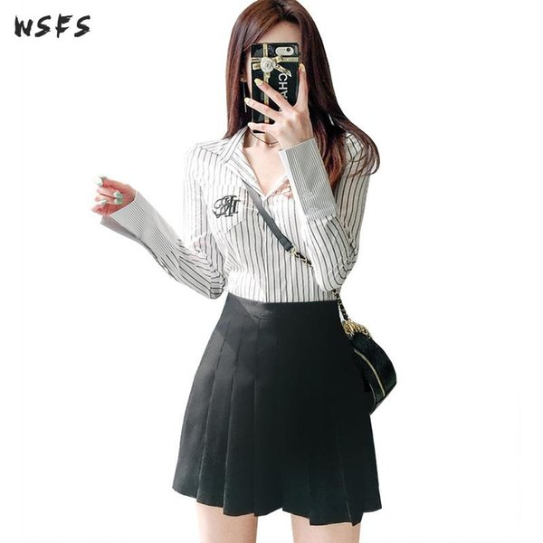 Summer 2 Pieces Sets Full Sleeve Stripe Shirt Tops Bodycon Office Ladies Black Mini Pleated Skirt Sexy Party Womens Dress 2018