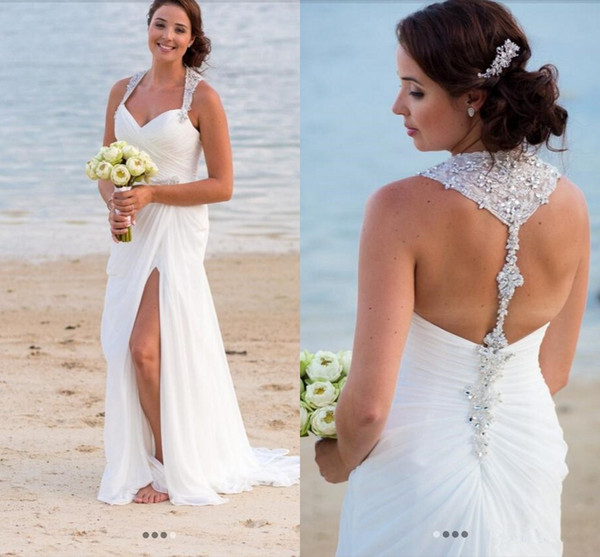 Surplice Bodice Sweetheart Halter Beaded Crystal Shinning Mermaid Wedding Dresses Slim Draped Sweep Train Beach Bridal Gowns 2018