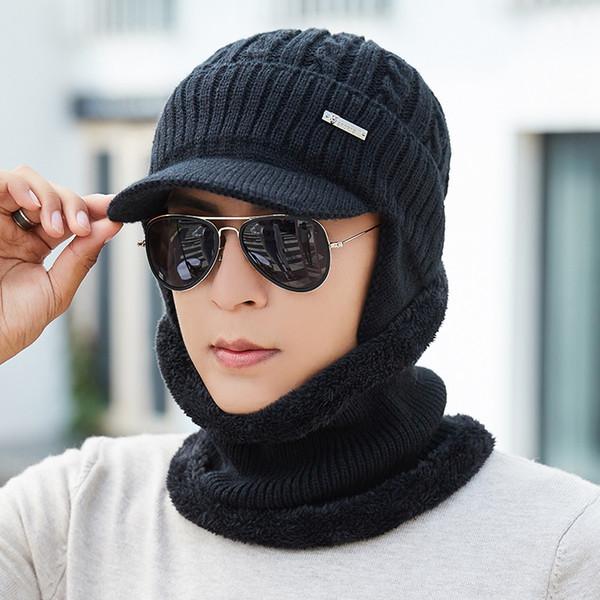 Winter Hat Scarf Skullies Beanies For Men Knitted Hat Women Mask Thick Balaclava Ear Cap Wool Bonnet Male Beanie Hats Cap