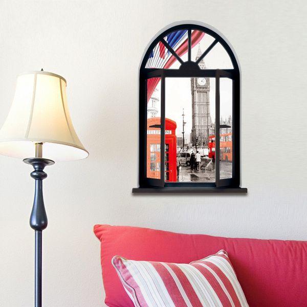Adesivo de parede 3D Tridimensionais Murais Red Mailbox Bus Decorativo Pintura Removível Decalques Paredes Adesivos de Decoração Para Casa 7sj gg