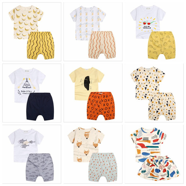 INS Childen Outfits Kids Summer Clothing Sets Sunglasses Banana Printed Clothing Suit Bay Boys Girls Sweatshirt Tops & Pants LM27