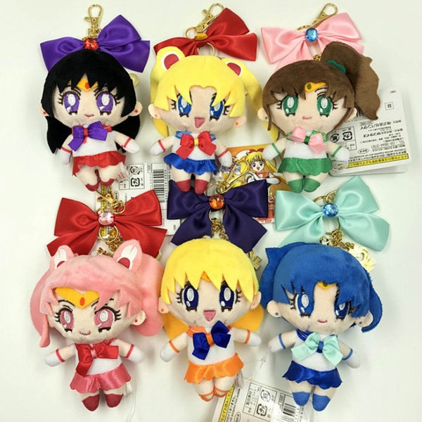 New 13CM 25th Anniversary Sailor Moon Mars Mercury Jupiter Venus Chibiusa Plush Doll Pendant